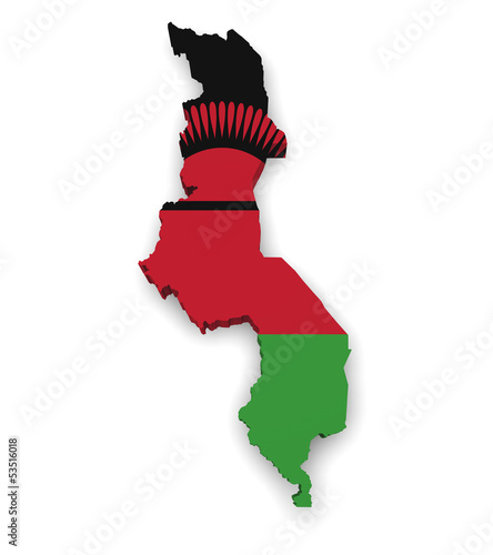 Malawi Map Flag Shape