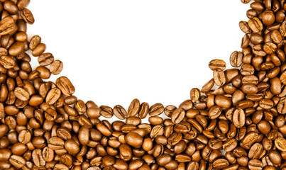 Coffee Border.  brown coffee beans isolated on white background.
