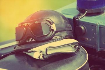 vintage police motorcycle helmet