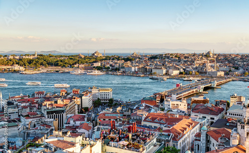View of the Golden Horn and old areas of Istanbul at sunset