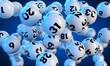 Lottokugeln fliegen auf blauem Hintergrund