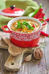 Soup Kharcho. Georgian cuisine.