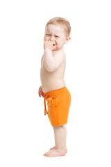 crying baby boy isolated.