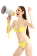 Summer  girl wearing a swimsuit and  holds a megaphone.