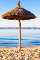 beach scenery with parasol