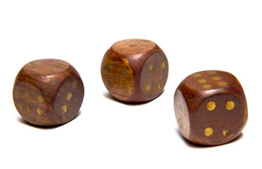 Three dice on isolated background