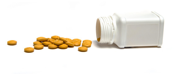 Pills on isolated white background