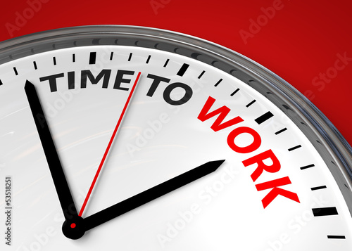 Time to work clock on red background