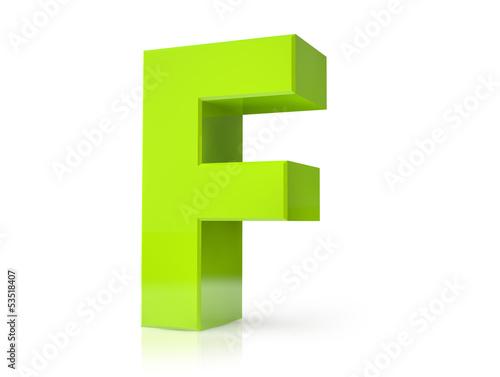 3d green letter - F