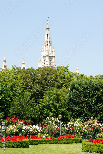 Vienna's Rathaus (City Hall) beyond Volksgarten park