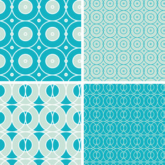 vector geometric circles seamless patterns set in matching color