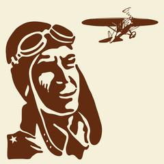 Pilot hero watching airplane. Vector vintage illustration.