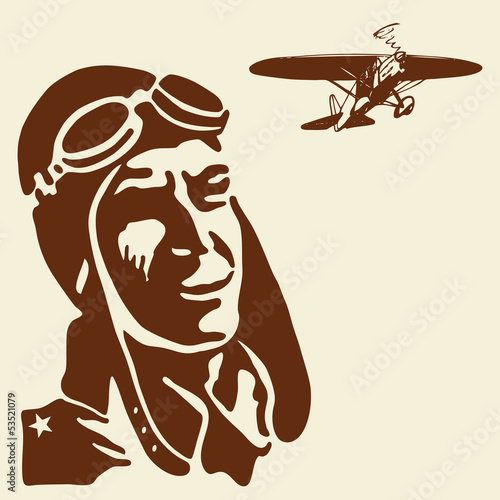 Pilot hero watching airplane. Vector vintage illustration.
