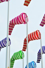 Colorful windsocks in  port