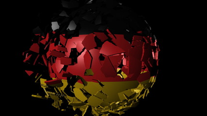 Germany flag sphere combining and breaking apart animation