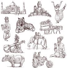 Indische collectie - full-size de hand tekeningen op wit