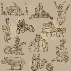 Indian collection - hand drawings into vector set