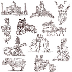 Indian collection - full sized hand drawings on white