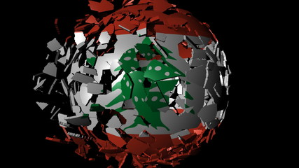 Lebanon flag sphere combining and breaking apart animation