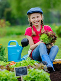 Gardening - lovely girl with lettuce