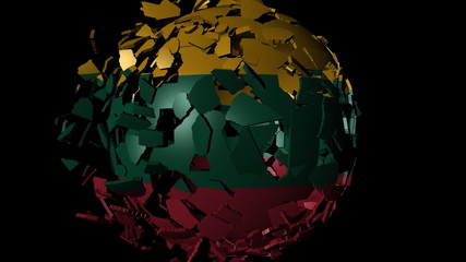 Lithuania flag sphere combining and breaking apart animation