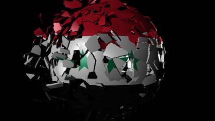 Syria flag sphere combining and breaking apart animation