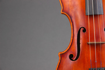 Classical violin on grey background