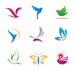 Flying logos and icons