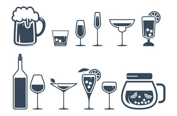 Drink alcohol beverage icons set
