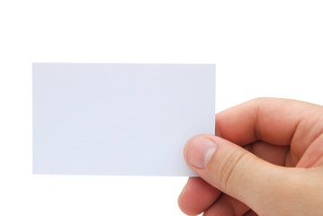 hand holding a blank business card with clipping path