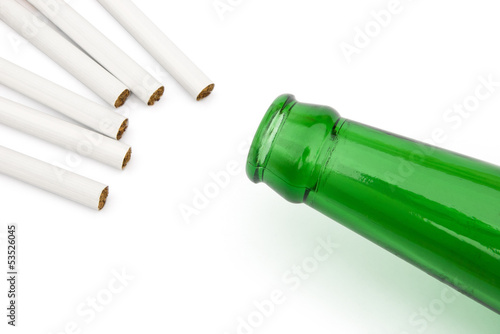 cigarettes and beer bottle with clipping path