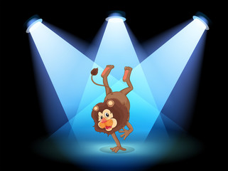 A dancing lion in the middle of the stage