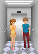 A girl and a boy in the elevator