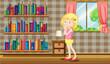 A girl inside a house full of books
