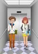 Two women inside the elevator