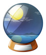 A crystal ball with a fullmoon inside