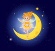 A fairy at the sky near the moon