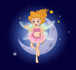 A fairy with a pink dress near the moon