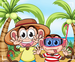Funny monkeys at the beach