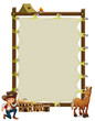 An empty framed banner with a cowboy and a horse