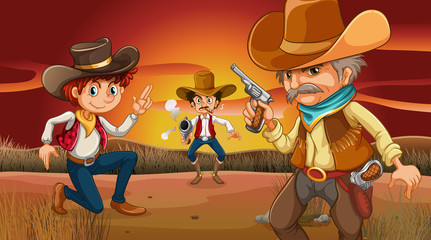 Three scary cowboys at the desert
