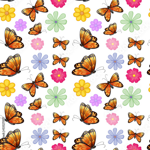 Orange butterflies with colorful flowers