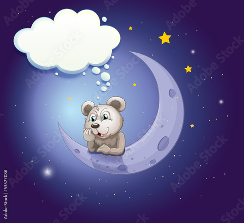 A gray bear leaning over the moon with an empty callout