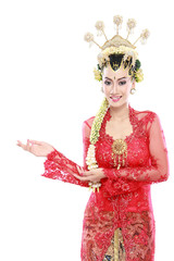 woman wearing traditional of java presenting blank area