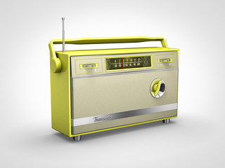 Vintage yellow radio in perspective view