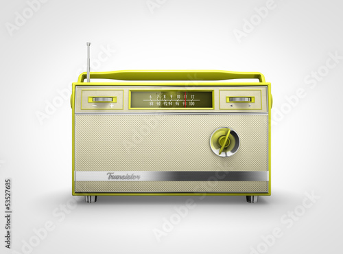 Vintage yellow radio in front view