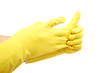Hands in rubber gloves isolated on a white background.