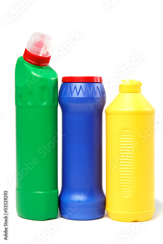 Detergent bottles on a white background.