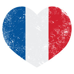 France heart retro flag