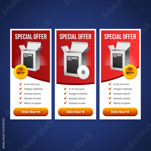Special Offer Banner Set Vector Red 20